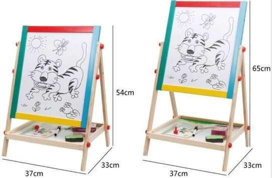 2 in 1 Wooden Kids Easel Blackboard Whiteboard Drawing Writing Chalk Board image 2