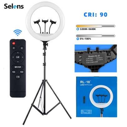 """18""""  LED Ring Light Kit RL-18 Camera Photography Dimmable Ring Lamp with Tripod stand image 1"""