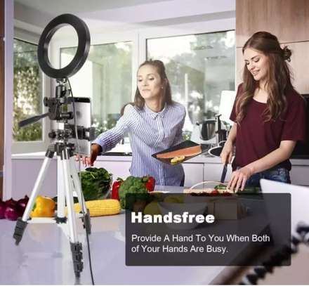 Tripod Stand With Ring Light And Mobile Phone Holder image 1