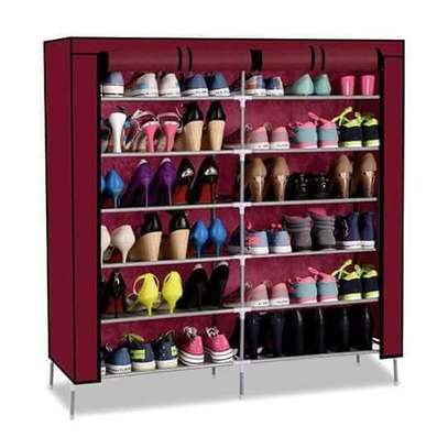 Double Column Portable Shoe Rack