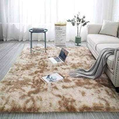 Patched color fluffy carpets image 3