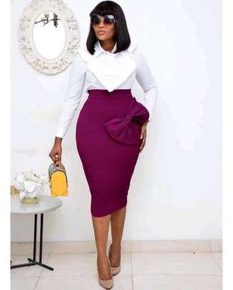 Magenta Bow Skirt Set image 1