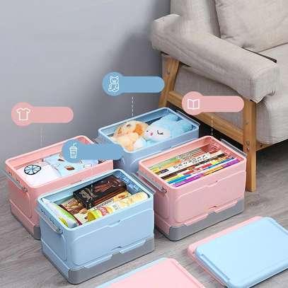 Large foldable storage box with plastic lid closet books and car storage organizer-pink image 4