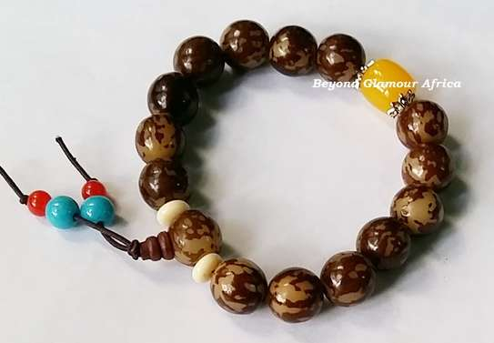 Multi color Wooden Shamballa Bracelet image 1
