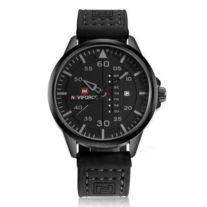 NAVIFORCE 9074 Fashion Army Sport Men Wrist Watch Casual Analog Date Leather Band Quartz Watch Black