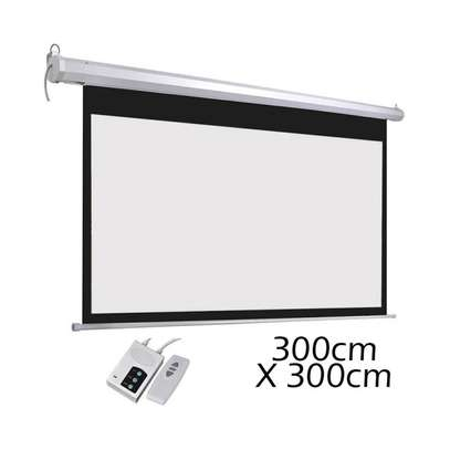 300 by 300 electric projector screen image 2