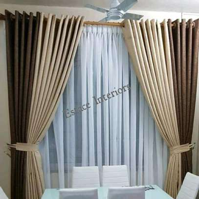HIGH QUALITY CREAM AND BROWN THEMED CURTAINS image 1
