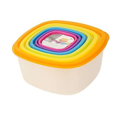 7pc Clear Plastic Food Storage Box Container Set Multi Colour Lids image 3