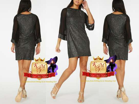 Billie & Blossom Black Sparkle Kimono Shift Dress