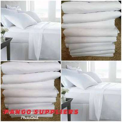 Cotton plain white Bedsheet image 1