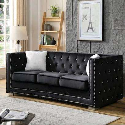 Black three seater tufted sofa for sale in Nairobi Kenya/Quality sofas for sale in Nairobi Kenya image 1