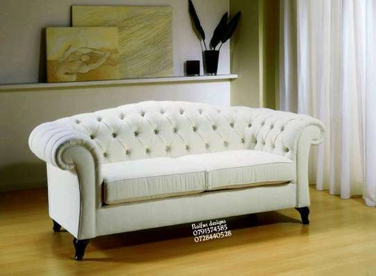 Modern white tufted sofas/three seater sofas image 1