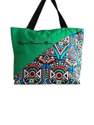 Womens Green ankara canvas handbag image 2