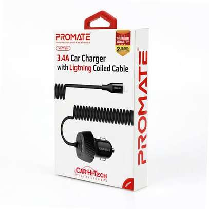 Promate 3.4A Car Charger with Lightning Coiled Cable image 1