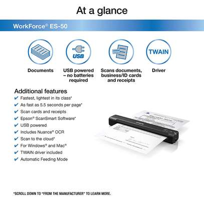 Epson Workforce ES-50 Portable Sheet-fed Document Scanner for PC and Mac image 2