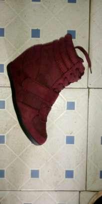 Maroon sneaker wedge image 1
