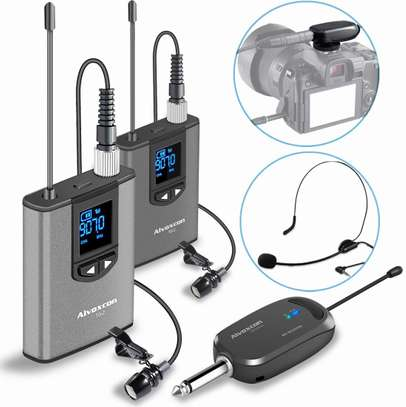Wireless Headset Lavalier Microphone System -Alvoxcon Dual Wireless Lapel Mic for IPhone, DSLR Camera, PA Speaker, Youtube, Podcast, Video Recording, Conference, Vlogging, Church, Interview, Teaching image 1