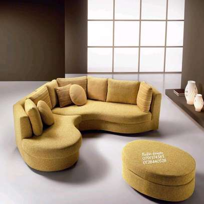 Yellow curved sofas/sectional couch/six seater modern sofas image 3