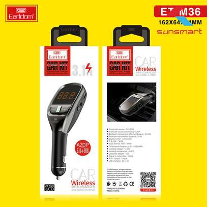 EARLDOM ET-36 FM TRANSMITTER CAR KIT WIRELESS MP3 CHARGER AUX AUDIO OUTPUT 3.1A image 2