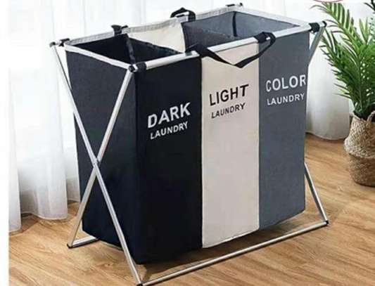 3 compartment foldable  laundry basket image 1
