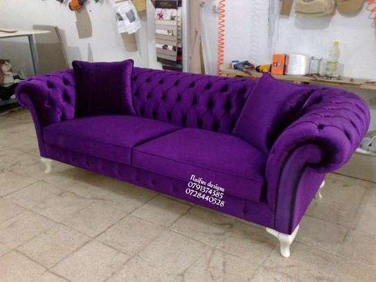 Three seater chesterfield sofa/purple sofas image 1