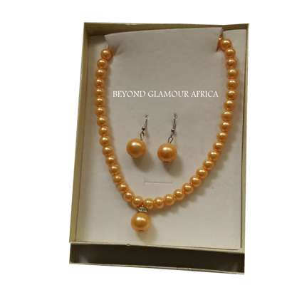 Yellow Pearl Earrings with  pearl chain Necklace Jewelry Set image 1