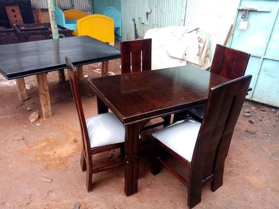 4 Seater Mahogany Framed Dining Table Sets image 2