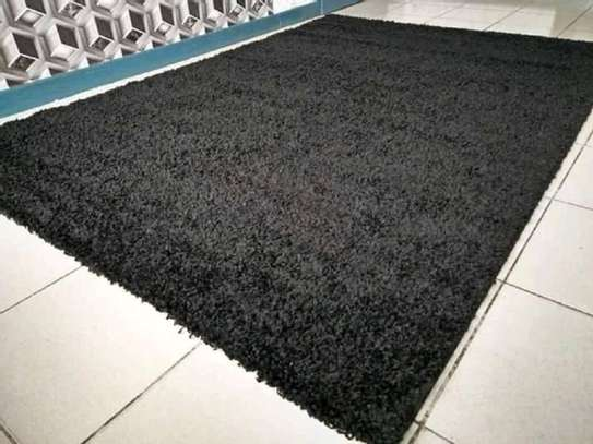 shaggy Turkish  carpet 5 by 8 black image 1
