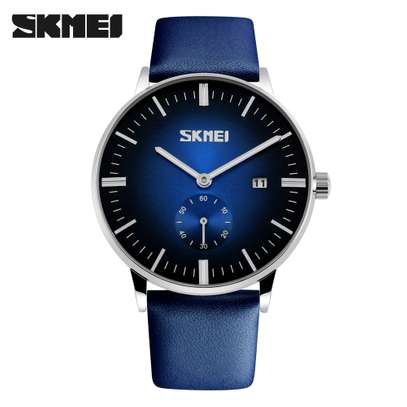 Skmei Mens Luxury Casual Leather Watch 9083 - Blue image 4