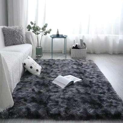 Dark Gray patched fluffy antiskid carpet 7*8 image 1