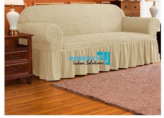 Beige 7 sitter elastic sofa cover image 2