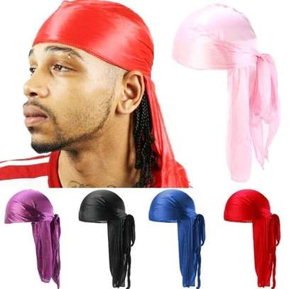 Purple, black, pink, red, blue silky casual unisex head durags image 1