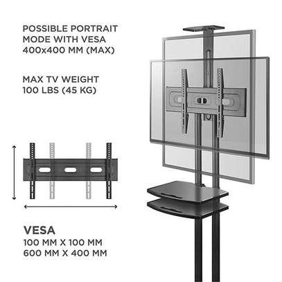 """ONKRON Mobile TV Stand TV Cart with Wheels & 2 AV Shelves for 32"""" – 65 TS1552 image 4"""