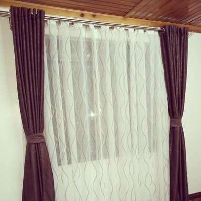 window curtains brown print image 1