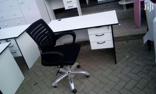 1.2 Metre White Desk and an Office Chair image 4