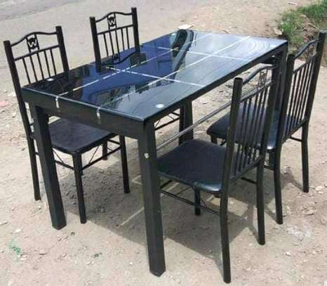 Space saver dining table with 4 sponged seats image 1