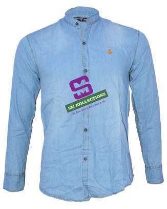 Sky Blue Slim Fit Chinese Collar Slim Fit Denim