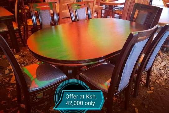 Oval mahogany dining table image 1