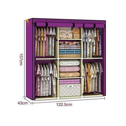 JIBAO Maroon Portable Wardrobe 3 Column - Purple image 1