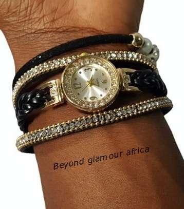 Black Leather Watch Bracelet