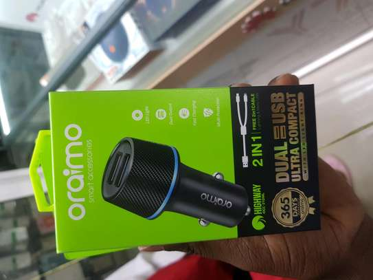 Oraimo 2 USB Car Charger With LED Light Ring - Black/Silver