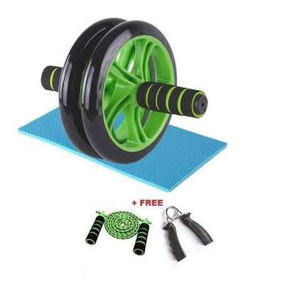 AB Wheel Abs Roller+Knee Mat+multicolour Free Rope+HandGrip image 1