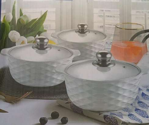 3pcs set Ceramic serving dishes with glass cover image 4