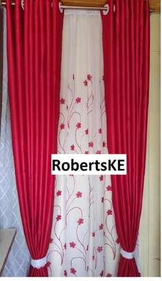 poly cotton plain red curtains image 1
