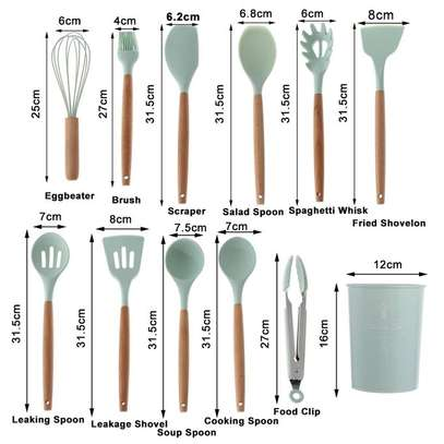 Generic 12 Pcs Silicon Non-Stick Cooking Spoons Set - BLUE image 2
