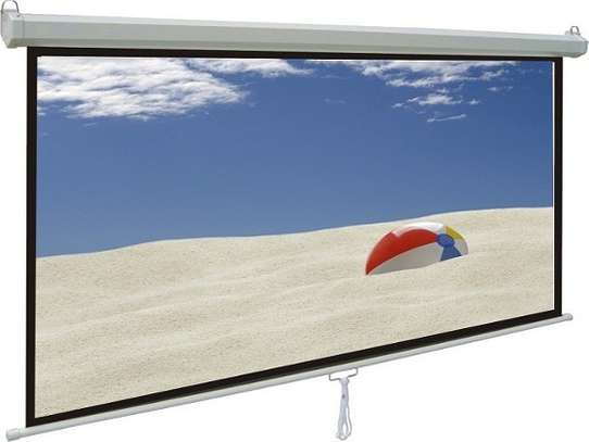 Manual Wall mount 96' x 96' Projection screen image 1