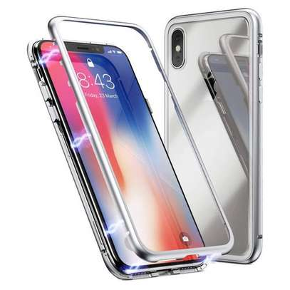Magnetic Adsorption Cases For iPhone XR Xs MAX Ultra Slim, Glass Back image 1