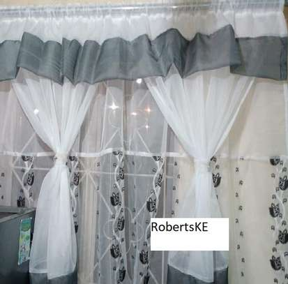 Grey white kitchen curtain image 1