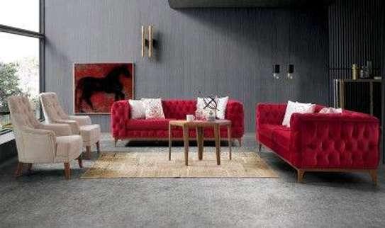 Red velvet three seater sofas for sale in Nairobi Kenya/off-white single seater sofas image 1
