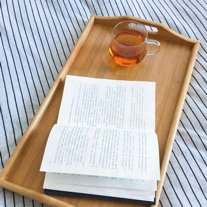 Breakfast Bamboo Tray Table with Stands image 2